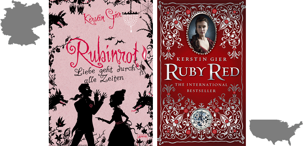 German and US book covers of Rubinrot or Ruby Red by Kerstin Gier