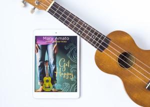 Ebook of Get Happy by Mary Amato with ukulele