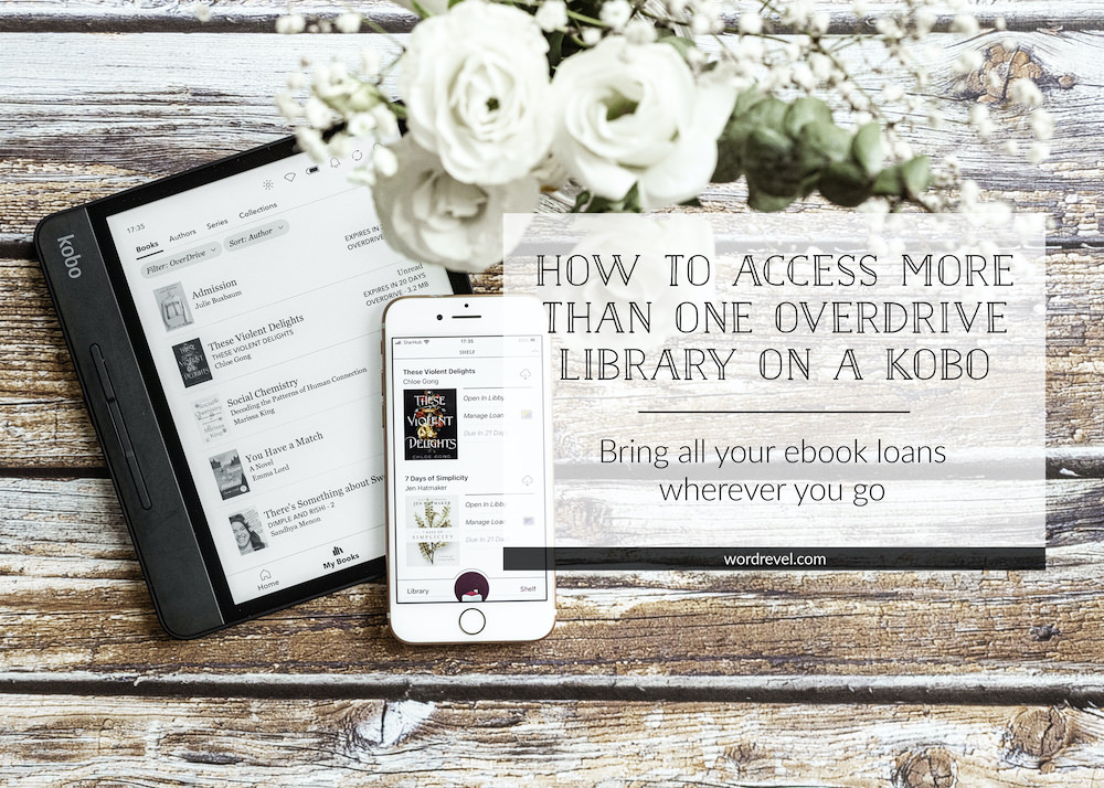 Kobo Forma and iPhone 6 showing ebook loans from OverDrive on the screens. Image is overlaid with a box in which the title and subtitle are stated. How to Access More Than One OverDrive Library on a Kobo: Bring all your ebook loans wherever you go