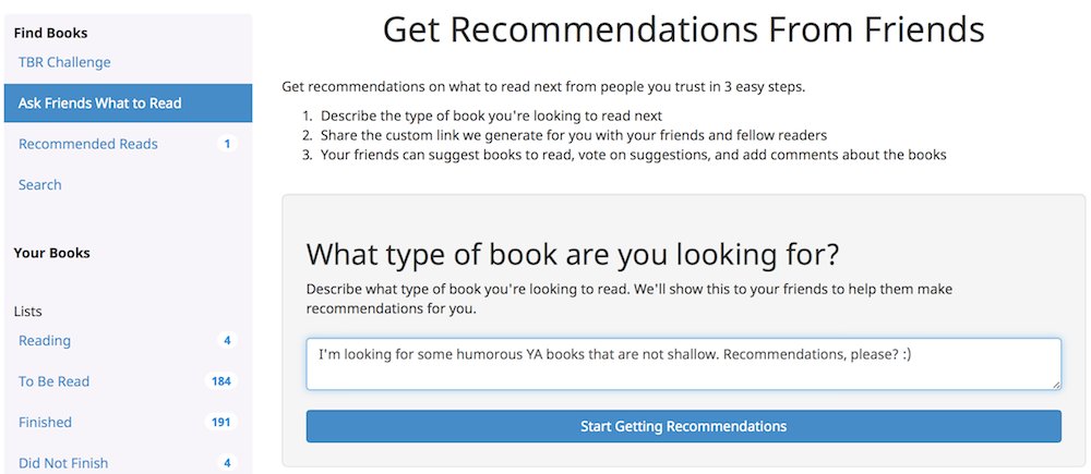 Literally recommendation request