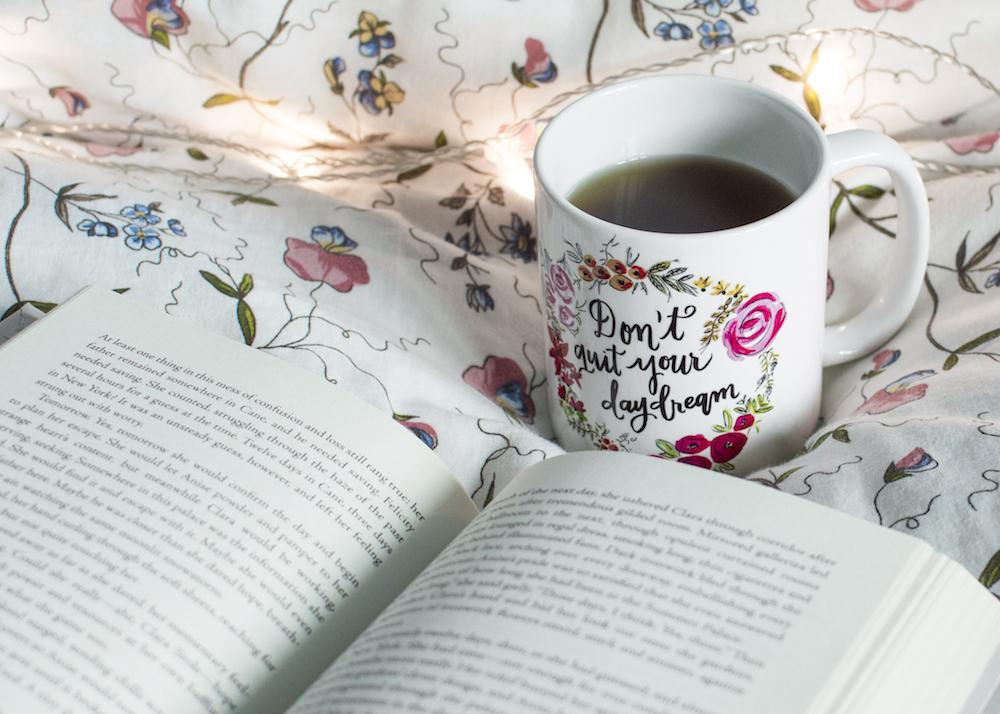 Mise-en-scene Comfort: Book and tea in bed