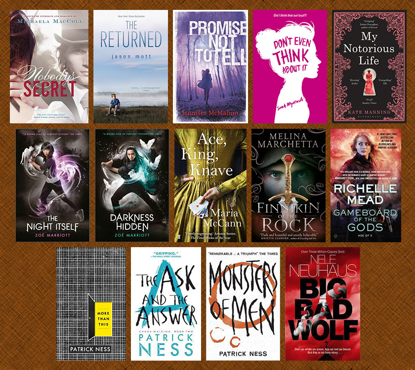 Mixed YA and adult books on bookstore shelves — undermining shelving systems