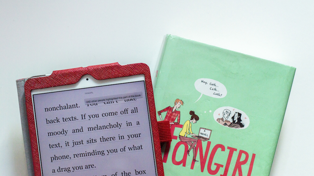 Reading Fangirl by Rainbow Rowell on Kindle app