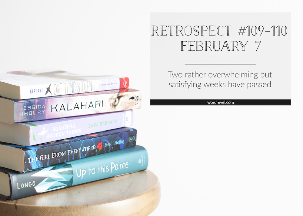 Retrospect #109–110: Book stack of hauled titles