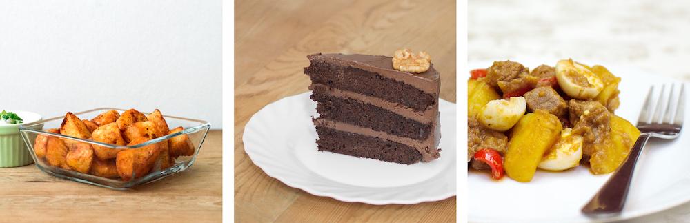 Roast Potatoes, Chocolate Cake & Braised Beef
