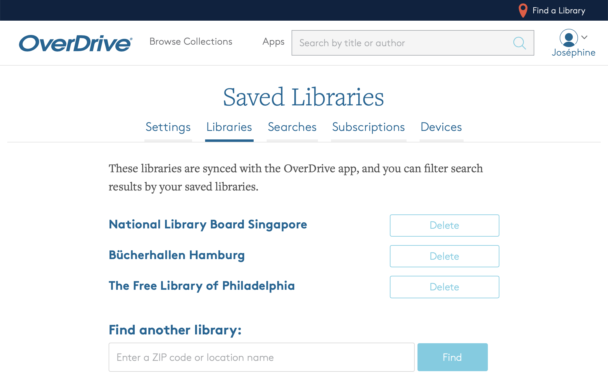 Screenshot of my saved libraries on overdrive.com