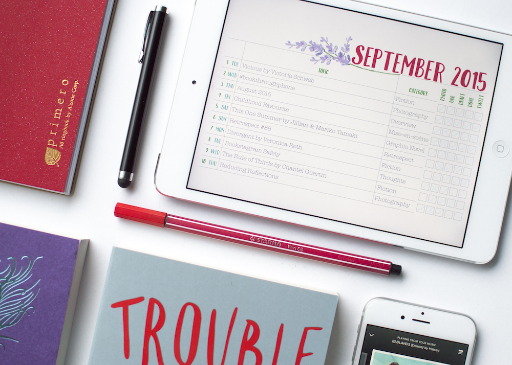 Designed September Blogging Schedule