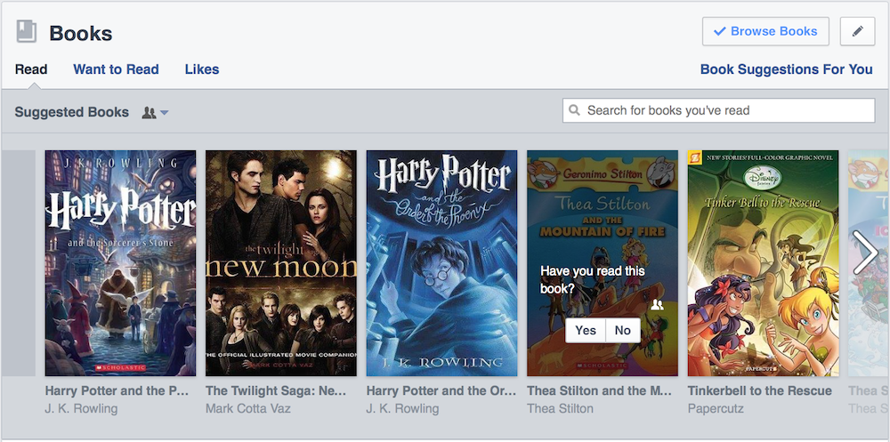Books section on Facebook profiles