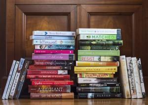 Stacks of rainbow books