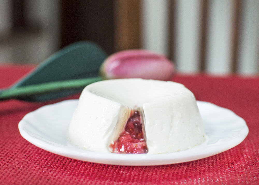 Strawberry Coulis Filled Panna Cotta
