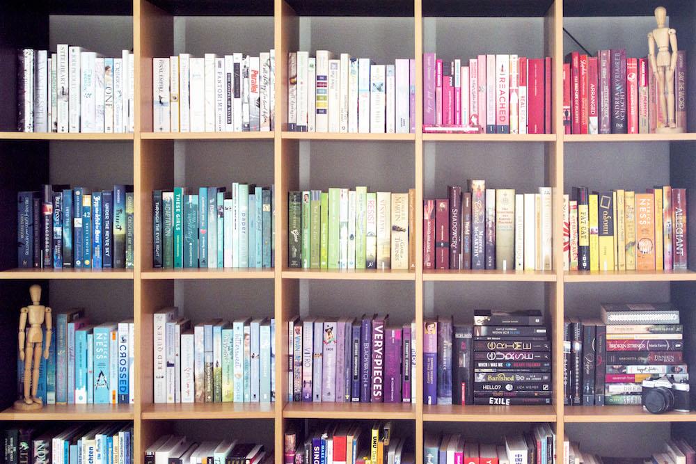 #TheShelfieHop - Main bookshelf with TBR books