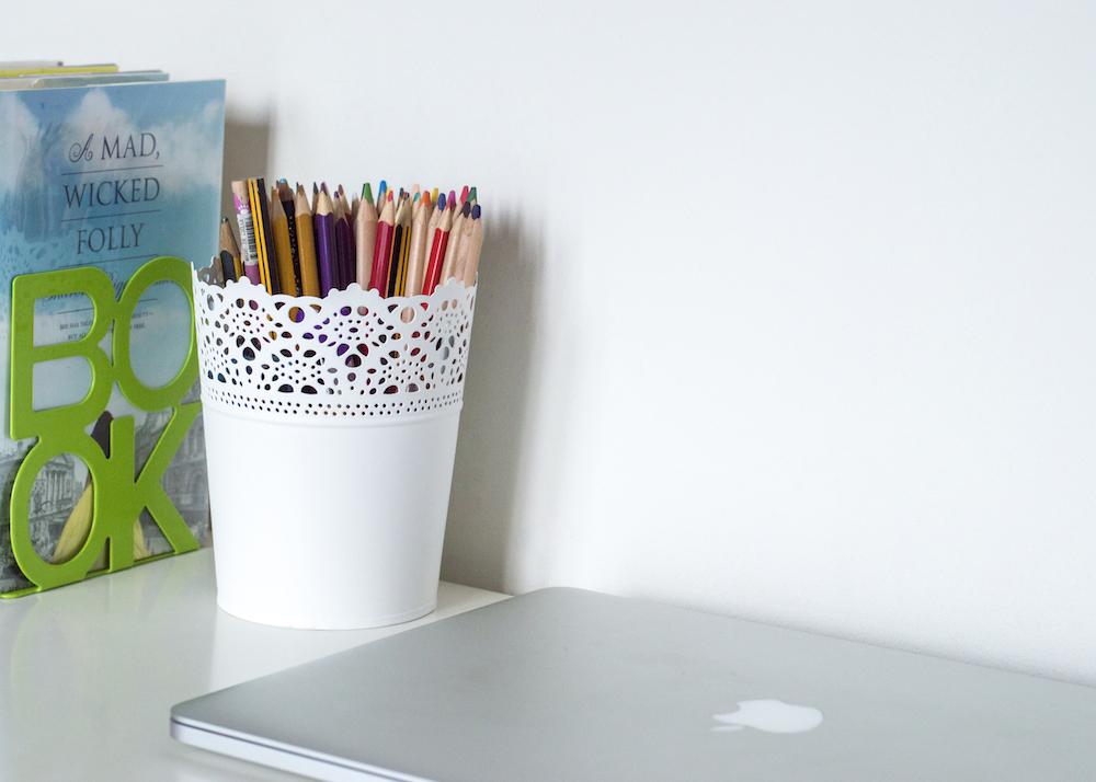 White background on desk