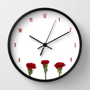 Society6, sephina, red carnations clock